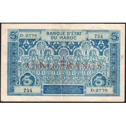 Maroc - Pick 9_3 - 5 francs - Série D.2776 - 1929 - Etat : TB