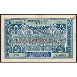 Maroc - Pick 9_5 - 5 francs - Série N.4068 - 1941 - Etat : TB+