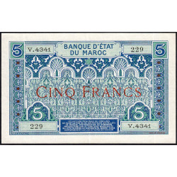 Maroc - Pick 9_5 - 5 francs - 1924 - Etat : SUP à SUP+