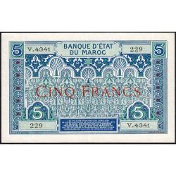 Maroc - Pick 9_5 - 5 francs - Série V.4341 - 1941 - Etat : SUP à SUP+