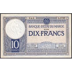 Maroc - Pick 17b - 10 francs - 1941 - Etat : SUP