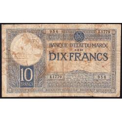 Maroc - Pick 17b - 10 francs - Série Z.1779 - 06/03/1941 - Etat : B+