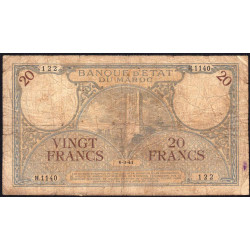 Maroc - Pick 18b_1 - 20 francs - 06/03/1941 - Etat : B+