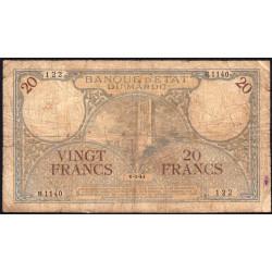 Maroc - Pick 18b_1 - 20 francs - Série H.1140 - 06/03/1941 - Etat : B+