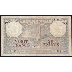 Maroc - Pick 18b_1 - 20 francs - 06/03/1941 - Etat : TTB-
