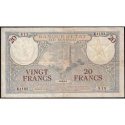Maroc - Pick 18b_1 - 20 francs - Série E.1193 - 06/03/1941 - Etat : TTB-