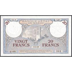 Maroc - Pick 18b_2 - 20 francs - Série Q.1481 - 09/11/1942 - Etat : SUP