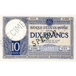 Maroc - Pick 17a_1s - 10 francs - 12/06/1929 - Spécimen - Etat : SUP