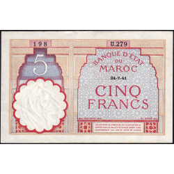 Maroc - Pick 23Ab - 5 francs - 29/07/1941 - Etat : SUP+