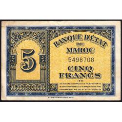 Maroc - Pick 24_1a - 5 francs - 01/08/1943 - Etat : TB+