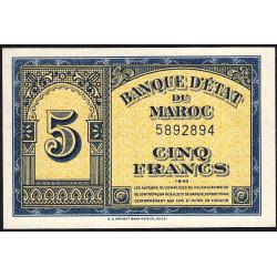 Maroc - Pick 24_1a - 5 francs - 01/08/1943 - Etat : NEUF