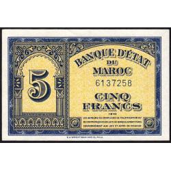Maroc - Pick 24_1a - 5 francs - 01/08/1943 - Etat : SPL