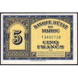 Maroc - Pick 24_1 - 5 francs - 1943 - Etat : NEUF