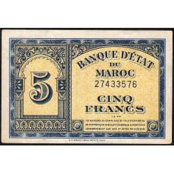 Maroc - Pick 24_2 - 5 francs - 01/03/1944 - Etat : TTB+