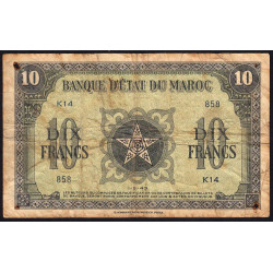 Maroc - Pick 25_1 - 10 francs - 01/05/1943 - Etat : B