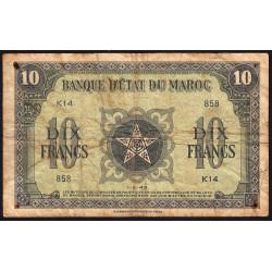 Maroc - Pick 25_1 - 10 francs - Série K14 - 01/05/1943 - Etat : B