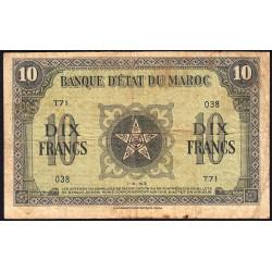 Maroc - Pick 25_1 - 10 francs - Série T71 - 01/05/1943 - Etat : TB