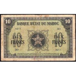 Maroc - Pick 25_1 - 10 francs - 01/05/1943 - Etat : TB