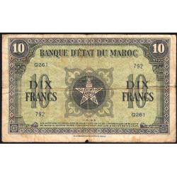Maroc - Pick 25_1 - 10 francs - Série Q261 - 01/05/1943 - Etat : TB-