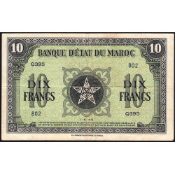 Maroc - Pick 25_1 - 10 francs - Série Q395 - 01/05/1943 - Etat : TTB+