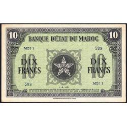 Maroc - Pick 25_2 - 10 francs - 01/08/1943 - Etat : SPL