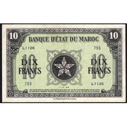 Maroc - Pick 25_3 - 10 francs - 01/03/1944 - Etat : SPL