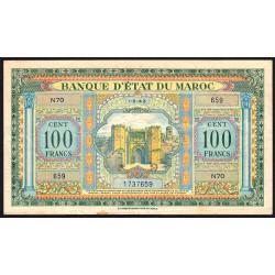 Maroc - Pick 27_1 - 100 francs - Série N70 - 01/05/1943 - Etat : TTB
