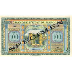 Maroc - Pick 27_1s - 100 francs - 01/05/1943 - Spécimen - Etat : SUP