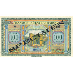 Maroc - Pick 27_1s - 100 francs - Série A1 - 01/05/1943 - Spécimen - Etat : SUP