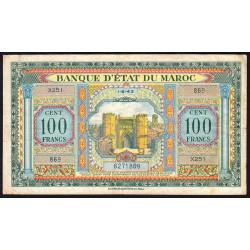 Maroc - Pick 27_2 - 100 francs - Série X251 - 01/08/1943 - Etat : TB+