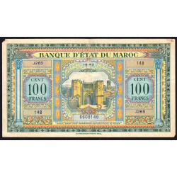 Maroc - Pick 27_2 - 100 francs - Série J265 - 01/08/1943 - Etat : TB+