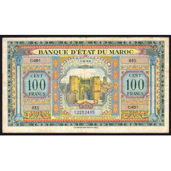 Maroc - Pick 27_3 - 100 francs - Série C491 - 01/03/1944 - Etat : TTB-