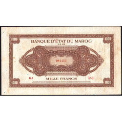 Maroc - Pick 28_1 - 1'000 francs - Série G4 - 01/05/1943 - Etat : TTB-