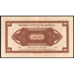 Maroc - Pick 28_2 - 1'000 francs - Série T84 - 01/08/1943 - Etat : TTB-