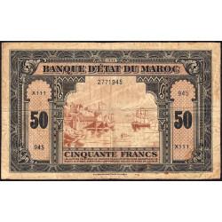 Maroc - Pick 26_1 - 50 francs - 01/08/1943 - Etat : B+ à TB-