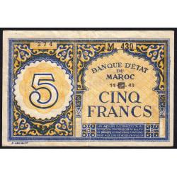 Maroc - Pick 33 - 5 francs - Série M430 - 14/09/1943 - Etat : TTB