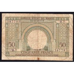 Maroc - Pick 44 - 50 francs - 02/12/1949 - Etat : B+ à TB-