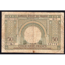 Maroc - Pick 44 - 50 francs - 1949 - Etat : B+ à TB-