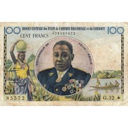 Cameroun - Afrique Equatoriale - Pick 1e - 100 francs - Série G.32 - 1961 - Etat : TB-