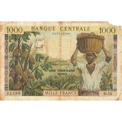 Cameroun - Pick 12b - Série D.13 - 1'000 francs - 1962 - Etat : AB à B-