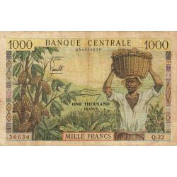 Cameroun - Pick 12b - 1'000 francs - Série Q.22 - 1962 - Etat : TB