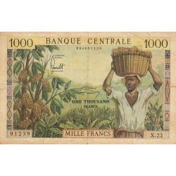 Cameroun - Pick 12b - Série X.22 - 1'000 francs - 1962 - Etat : TB