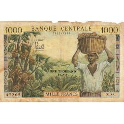 Cameroun - Pick 12b - Série Z.25 - 1'000 francs - 1962 - Etat : AB à B-