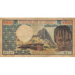 Cameroun - Pick 16a - 1'000 francs - Série X.3 - 1974 - Etat : B+ à TB-