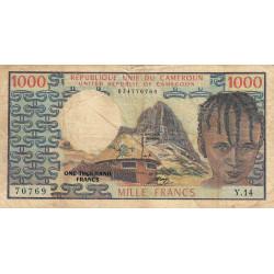 Cameroun - Pick 16a - 1'000 francs - Série Y.14 - 1974 - Etat : TB