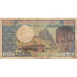 Cameroun - Pick 16b - 1'000 francs - Série W.16 (billet de remplacement) - 1978 - Etat : B+ à TB-