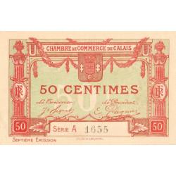 Calais - Pirot 36-40 - 50 centimes - Série A - 7e émission (1919) - Etat : SPL