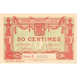 Calais - Pirot 36-40b - Série A - 50 centimes - 1919 - Etat : SPL