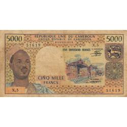 Cameroun - Pick 17c2 - 5'000 francs - Série X.5 - 1981 - Etat : B+ à TB-