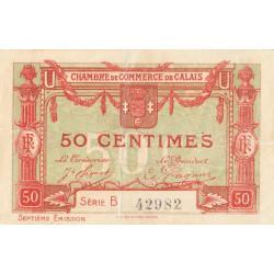 Calais - Pirot 36-40c - Série B - 50 centimes - 1919 - Etat : TB+